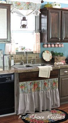 Give a basic builder's kitchen vintage farmhouse flair with paint, stain & repurposed trim.