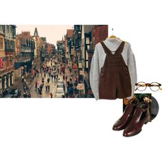 Alone on a crowded street by melancholyandshadesofblue on Polyvore featuring Topshop, François Pinton, Sweater, Beatles, grey, brown and glasses