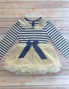Navy Blue Gold Toddler Baby Girl Dress by AvaMadisonBoutique