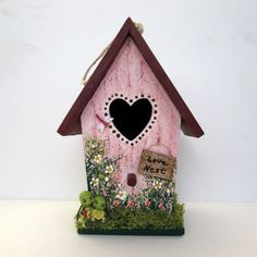 "Love Nest Birdhouse with Turtles, by Sandra Quinn of ""SanQui Creations"" Etsy shop $10  ~  bird house hand-painted cottage shabby chic pink heart Valentine"