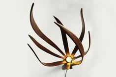 Beautiful and organic wooden floor lamp: Iris floor lamp by Macmaster design