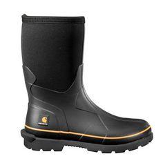 Carhartt Men's Black Neoprene Upper Waterproof Vulcanized Rubber Soft Toe 10 in. Boot - The Home Depot Rubber Boots For Men, Rubber Rain Boots, Muck Boots, Men's Boots, Vulcanized Rubber, Black Rubber, Carhartt, Brown Leather, Footwear