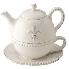October Hill Ceramic Teapot for One, Fleur De Lis by Ideal Home Range, amazon