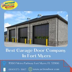 If you want to install, repair & replace doors in your garage then you should contact or visit us. In Fort Myers, Actiondoor is known as the best and most trustworthy garage door company. Our company always cares about our clients and provides high-quality service according to their needs. Garage Doors For Sale, Garage Door Company, Action Door, Garage Door Opener, Fort Myers, Gate, Commercial, Mansions, House Styles