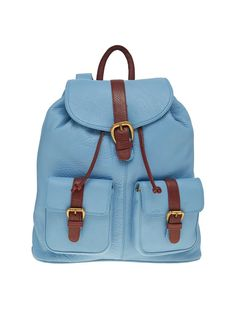 3ce64d4fd73 Leather World 10.5 Liter Blue Genuine Leather Stylish Backpack with Zip  Closure Travel Bag BP3025