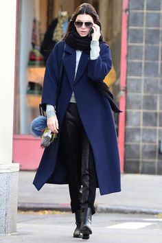 Shop Kendall Jenner's oversized navy coat.