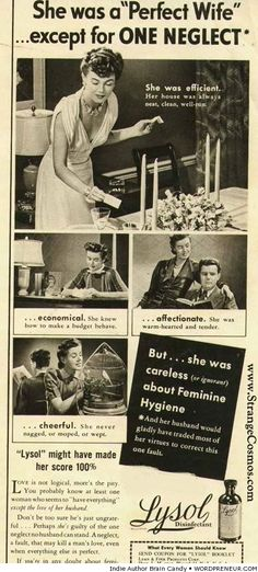 Lysol for feminine hygiene vintage ad
