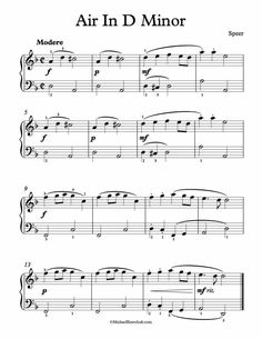 Free Piano Sheet Music - Air In D Minor - Daniel Speer. Enjoy!