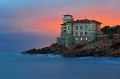 Скачать обои море, Тоскана, дом, башня, Италия, зарево, Ливорно, раздел пейзажи в разрешении 2048x1364