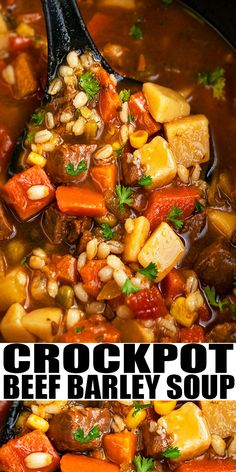 Slow Cooker Beef Barley Soup Recipe-The Best, Old Fashioned, Classic, Hearty, Qu. Crockpot Beef Barley Soup, Beef Soup Recipes, Crock Pot Soup, Slow Cooker Soup, Crock Pot Cooking, Slow Cooker Recipes, Simple Soup Recipes, Stewing Beef Recipes, Easy Crockpot Soup