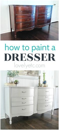 Learn how to paint a dresser the right way. This simple step by step process will show you how to paint any dresser so that the finish will last for years to come. Low Dresser, Dresser Refinish, How To Paint Dresser, Nightstand, Diy Dresser Makeover, Furniture Makeover, Dresser Ideas, Paint Furniture, Furniture Projects