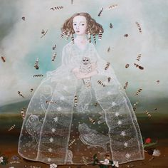 Owl Sister, Anne Siems #Art #Contemporary #Painting #Seattle #Invisible #Dress #Gown