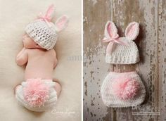 Bunny crochet hat with ears and diaper cover with tail Bunny Crochet, Crochet Bebe, Crochet For Kids, Knit Crochet, Baby Girl Crochet, Easter Crochet, Crochet Christmas, Crotchet, Crochet Baby Props