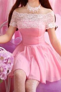 Summer New Kawaii Sweet Dolly Lolita Mori Girl Off Shoulder Chiffon Lace Dress on Luulla Harajuku Mode, Harajuku Fashion, Kawaii Fashion, Lolita Fashion, Cute Fashion, Emo Fashion, Girl Fashion, Moda Lolita, Lolita Mode