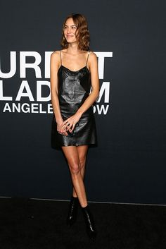 Alexa Chung wearing black leather dress and booties - Saint LAurent Celebrity Outfits, Celebrity Style, Fashion Models, Girl Fashion, Alexa Chung Style, Stilettos, Justin Bieber, Mode Top, Looks Cool