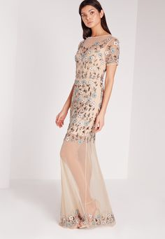 Missguided - Premium Mini Flower Embellished Mesh Maxi Dress Blue