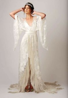 1920s vintage robe turned wedding gown.