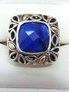 Angela by John Hardy Sterling Silver 925 14k Accent Faceted Lapis Size 10 Ring