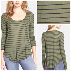 Splendid Stripe Long Sleeve Tee Navy-and-olive stripes lend nautical flair to a sheer, long-sleeve scoop-neck tee finished with a curved hem.   80% rayon, 20% polyester. Hand wash cold, By Splendid; made in the USA.   (9) Splendid Tops Tees - Long Sleeve