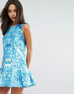 Skeena S Mini Dress in Watersnake Print with Flippy Hem - Multi