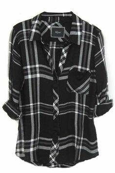 Rails Hunter Plaid Shirt in Black/White/Gray