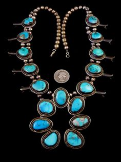 187g Old Pawn Vintage Navajo Sterling Silver Squash Blossom Necklace w Bright & Colorful Blue Gem Turquoise! GORGEOUS  Stones!