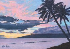 Original small 5 x 7 inch beautiful pink, purple, blue and yellow tropical island clouds and sky beach sunset Kihei, Maui,Hawaii on Etsy, $75.00