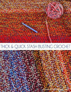 Do you have a huge pile of yarn staring at you? This stash busting crochet afghan not only depletes that stash, but it also makes a thick, quick blanket!