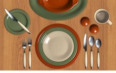 Fall in full effect! Play around with Fiesta fall color combinations, like this one with Paprika, Sage and Ivory.