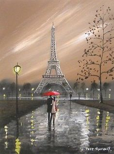 Pete Rumney Art Original Canvas Painting Paris Love Eiffel Tower Red Umbrella Eiffel Tower Painting, Eiffel Tower Art, Eiffel Towers, Umbrella Painting, Umbrella Art, Paris Painting, Paris Love, Paris Art, Paris Photography