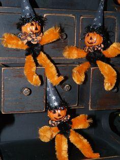 3 Vintage Style Halloween Jack O'Lantern by ThePatchworkAttic, $12.00