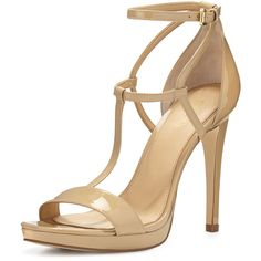 MICHAEL Michael Kors Simone Patent T-Strap Sandal ($150) ❤ liked on Polyvore featuring shoes, sandals, heels, zapatos, nude, heeled sandals, michael michael kors shoes, nude strappy shoes, strap sandals and nude heel shoes