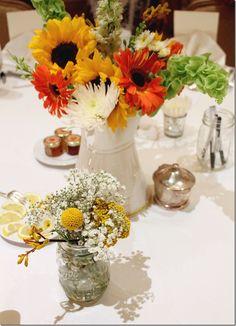 Tea party bridal shower flowers