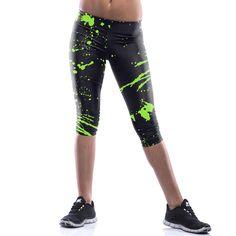 417cddcbab Cheap Summer Capri Leggings for Women Galaxy Print Crop Tights Plus Size New