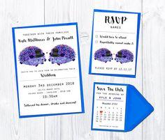 Hedgehog wedding stationery sample Wedding invitation set