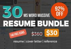 Great 30 massive Word resume pack bundle