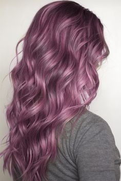 {Also the fantasy of what I want my curls/waves to look like} purple dyed hair pastel
