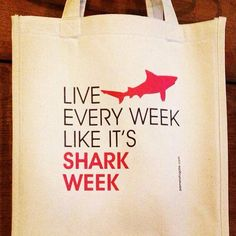 Shark Week Cotton Canvas Tote Bag by FairhopeSheSells on Etsy