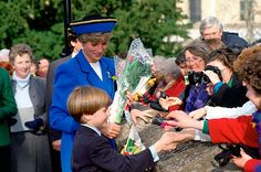 March 1, 1991: Prince Charles, Princess Diana and their son, Prince William on his first official engagement on St. David's Day (the patron saint) at Cardiff, Wales.