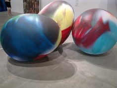 Giant coloured eggs at GOMA