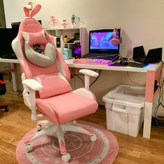 Gamer Setup, Gaming Room Setup, Pc Setup, Gaming Chair, Room Ideas Bedroom, Girl Bedroom Designs, Pink Games, Kawaii Bedroom, Otaku Room
