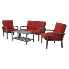 Red is always good -- Target Home™ Smithwick 4-Piece Metal Patio Conversation Furniture Set - Red.Opens in a new window