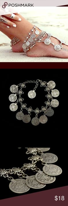 """Coin Ankle Bracelet NWOTS. Gorgeous """"Eye Candy"""" Fashion jewelry for your ankle. Adjustable lengths to fit your desire length. Boutique Jewelry"""