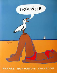 Trouville (Normandie France), Vintage travel beach poster by  Raymond Savignac . www.varaldocosmetica.it/en