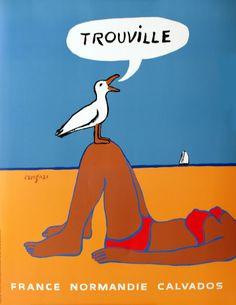 Trouville (Normandie France), Vintage travel beach poster by  Raymond Savignac . www.varaldocosmetica.it/en