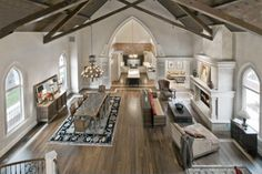A very bright church-to-home conversion. Pretty much no option about an open floor plan...