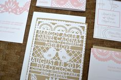 Laser Cut Papel Picado invitation suite in blush, white and kraft by avie designs