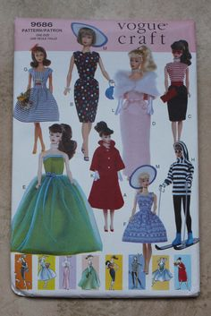 "Vogue Craft Pattern 9686 - 11 1/2"" Fashion Doll Clothes. $22.00, via Etsy."