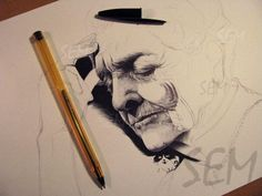 Rita Levi Montalcini , 100 % ballpoint pen (cristal bic 0.8 mm) on paper A4. (fabriano 160 g)  2015