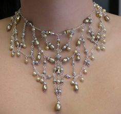 Autumn... Couture bridal necklace created in sterling silver and Champagne fresh water pearls. Elegant and elaborate. Lori Frantz-Koenig is available for custom wedding jewelry designs.